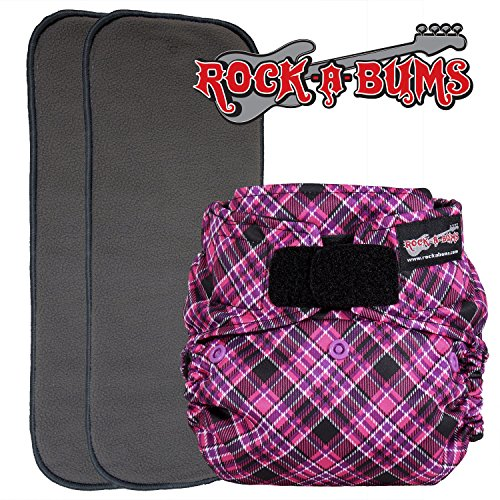 Black Suedecloth - Rock-a-Bums 5-in-1 Cloth Diaper Pack with Hook & Loop, Punk Plaid Pink