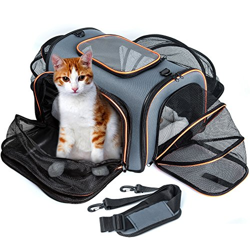 Pet Carrier for Cats and Small Dogs, Airline Approved Cat Travel Carrier 4 Sides Expandable F-color Soft Sided Foldable Dog Carrier Top Loading with a Fleece Bed, Lightweight Stable Easy-Carrying