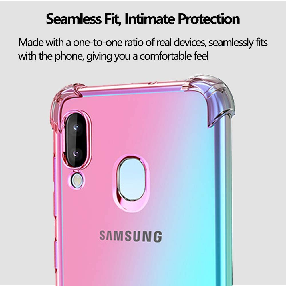 for Samsung Galaxy A20 A30 Case Creck Galaxy A20 Case Galaxy A30 Case Crystal Clear Slim Soft TPU All Corners Shockproof Protective with 2Pcs 9H Tempered Glass Screen Protector /… Blue//Purple
