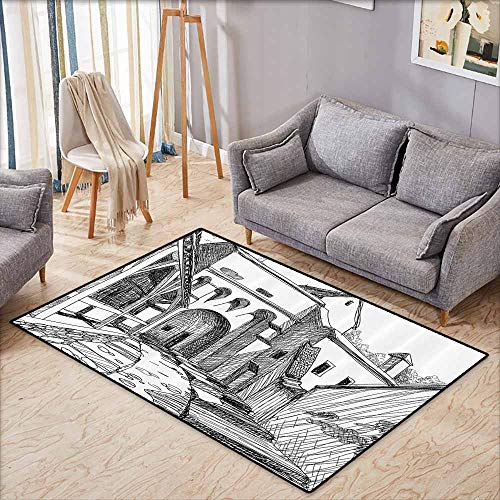 Children's Rugs Playrug Rugs Medieval Decor Collection Medieval Citadel Sketch House of Legendary Vampire Dracula Old Mystical Tales Art Work Black White Hard and wear Resistant W5'2 xL3'2