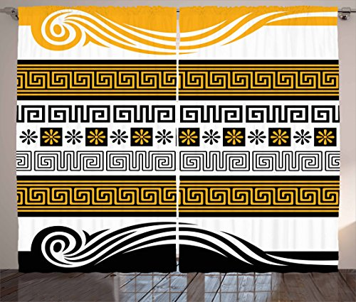 Greek Key Curtains by Ambesonne, Neoclassical Borders Collection Meander Pattern and Flowers with Waves, Living Room Bedroom Window Drapes 2 Panel Set, 108 W X 63 L Inches, Marigold Black White (63 Inch Greek Key)