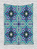 asddcdfdd Arabian Decor Collection, Arabesque Pattern Traditional Islamic Art Geometric Decorative Persian Damask Art, Bedroom Living Room Dorm Wall Hanging Tapestry, Cobalt Blue Teal