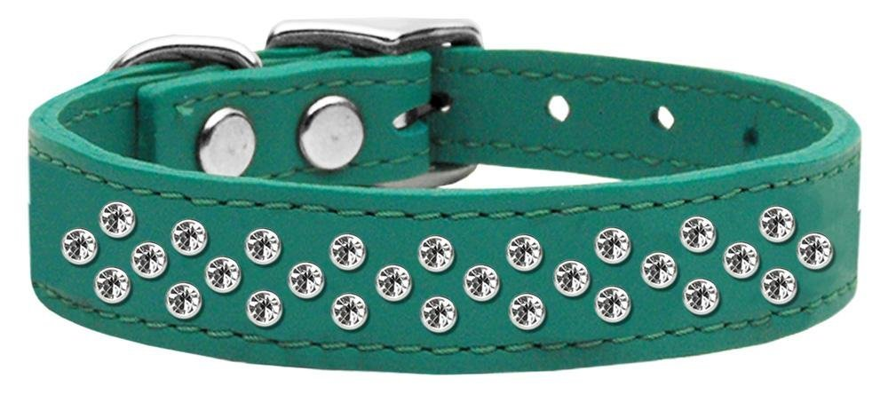 16\ Mirage Pet Products Sprinkles Clear Crystal Leather Jade Dog Collar, 16