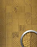 WallFace 13926 COLLAGE Wall panel leather 3D interior luxury wallcovering decoration self-adhesive gold | 2,61 qm