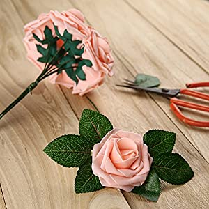 Febou Artificial Flowers, 50pcs Real Touch Artificial Foam Roses Decoration DIY for Wedding Bridesmaid Bridal Bouquets Centerpieces, Party Decoration, Home Display, Office Decor (Standard Type, Pink) 3