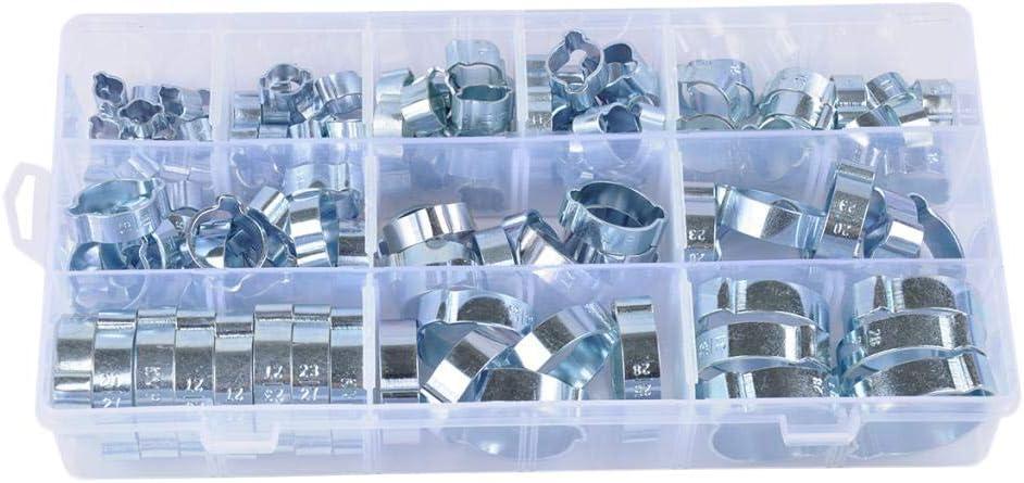 KESOTO 128x 2-Ohr-Klemmen-Set Schlauchklemmen Schlauchschellen Rohrschellen im Sortimentsbox