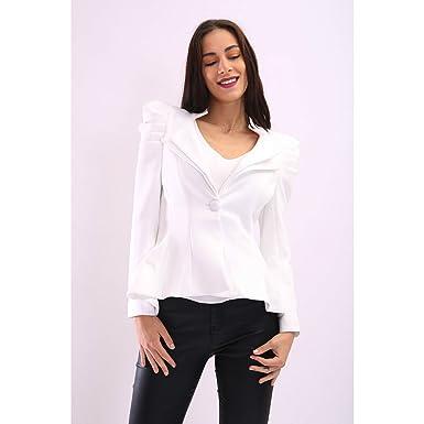 7747a77c6f9 Flirty Wardrobe Womens Ladies Kate Kim Puff Shoulder Blazer Frill Button Jacket  Tailored Coat  Cream