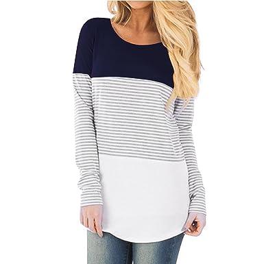 daba39f5aa4 Hount Womens Long Sleeve Striped Color Block Blouse Cute T-Shirt Tunic Tops  (Nvay
