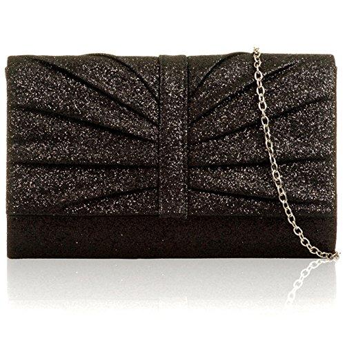 Xardi London Glitter Sparkle MUJERES embrague bolsas tamaño mediano novia-despedida de noche bolso de mano negro