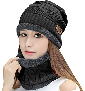 971800de HINDAWI Womens Beanie Winter Hat Scarf Set Slouchy Warm Snow Knit Skull Cap