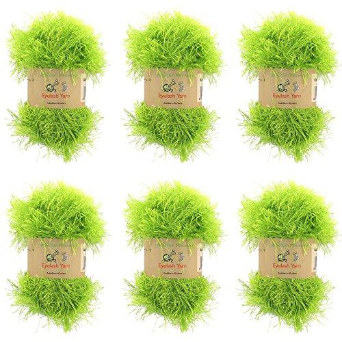 BambooMN JubileeYarn 50g Eyelash Ruffle Fur Yarn, 6 Skeins Pear Green (Yarn Green Eyelash Lime)