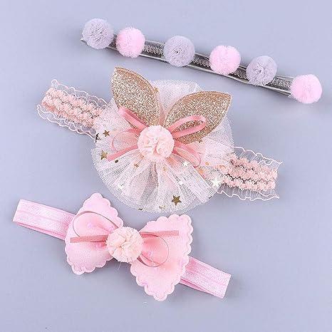 Cute 3Pcs Headband Girl Baby Elastic Bow Accessories Lace Gift Hairband Set Nice
