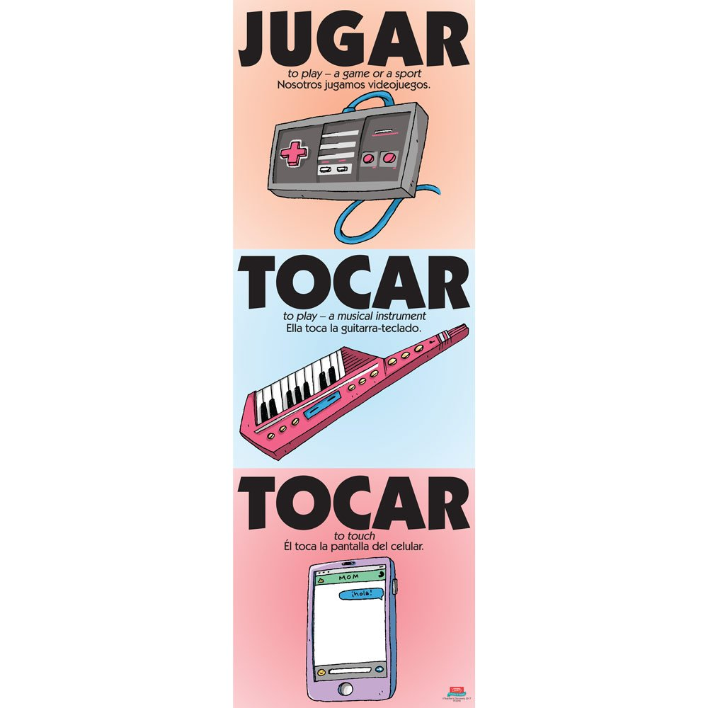Amazon.com : Vexing Verbs Jugar and Tocar Spanish Poster : Office Products