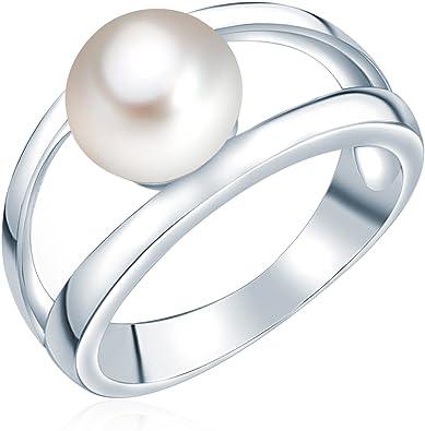 Ring S/ü/ßwasser-Zuchtperlen wei/ß//hellgrau