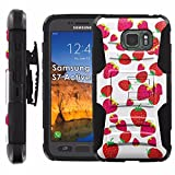 Samsung Galaxy [S7 Active] Armor Case [Mobiflare] [Black/Black] Armor Phone Case [Screen Protector INCLUDED] - [Strawberries]