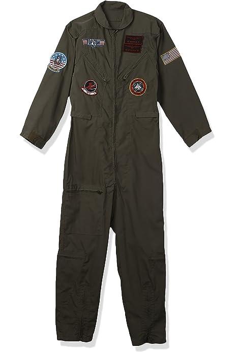 CL48 Top Gun Womens 80s Costume Army Aviator Flight Dress Figher Pilot Air Force