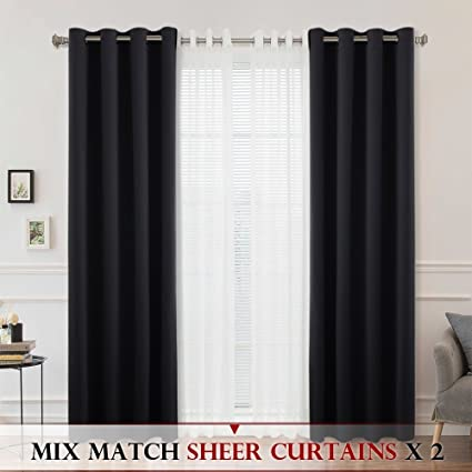 amazon com bleaching white sheer blackout curtain ryb home 4 rh amazon com sheer curtains with blinds sheer curtains with designs
