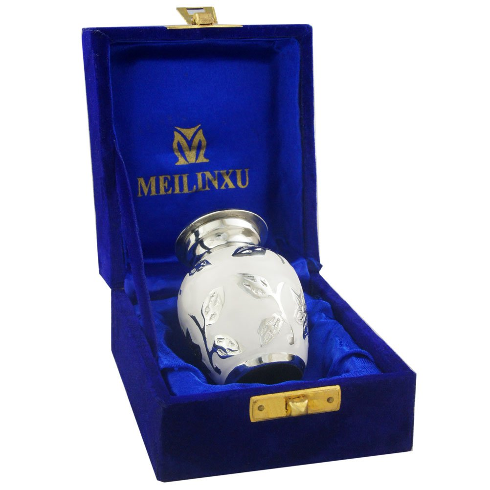 MEILINXU Mini Keepsake Funeral Urn Small Cremation Urn Human Ashes Adult -Brass Hand Engraved- Fits a Small Amount Cremated Remains - Burial Urn at Home Office (Bram White Rose, Baby Urn Meilinxu Memorials JN-MLXU-2898S