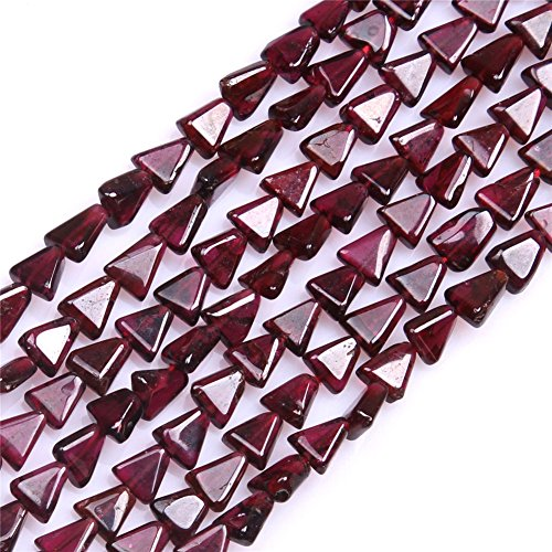 Joe Foreman Garnet Beads for Jewelry Making Natural Semi Precious Gemstone 6mm Trillion Shape Strand (Gemstone Trillion Necklace)