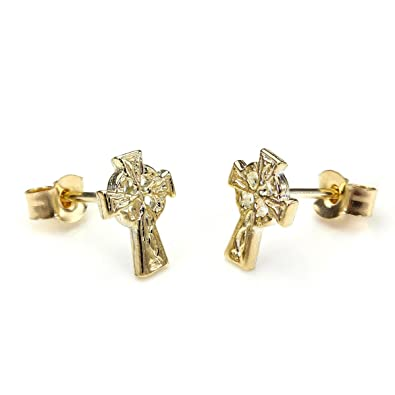 9ct Gold Celtic Cross Stud Earrings/Studs/Earring/Irish pBeTZZk