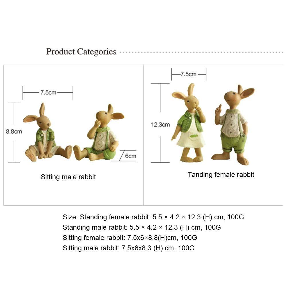 Pasqua Decoracion Coniglietto pasquale in resina 2 pezzi
