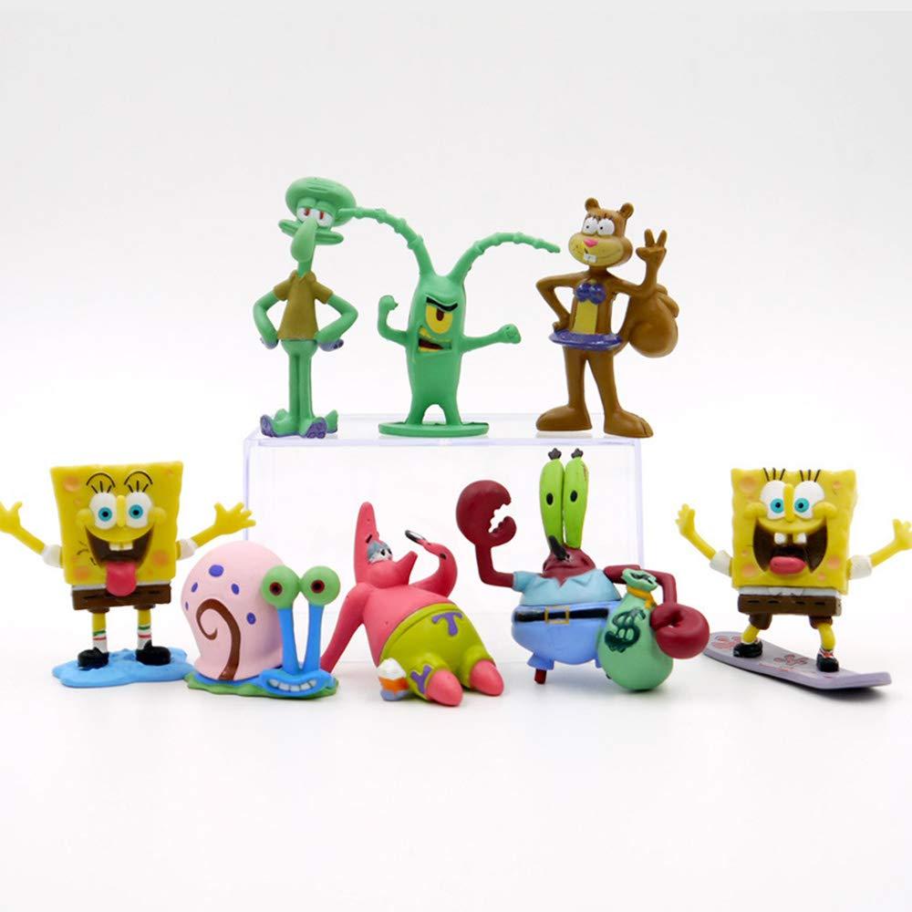 Cake Topper,Figure Action Set DeQian 8pcs Spongebob Figures Squidward Plankton Patrick Sandy Gary