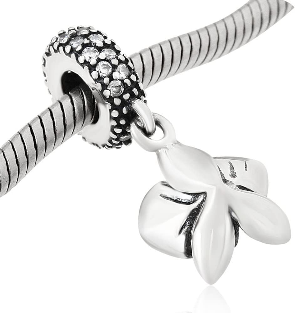 Choruslove White Orchid Charm Pendant with CZ and Enamel for European Bracelet Necklace