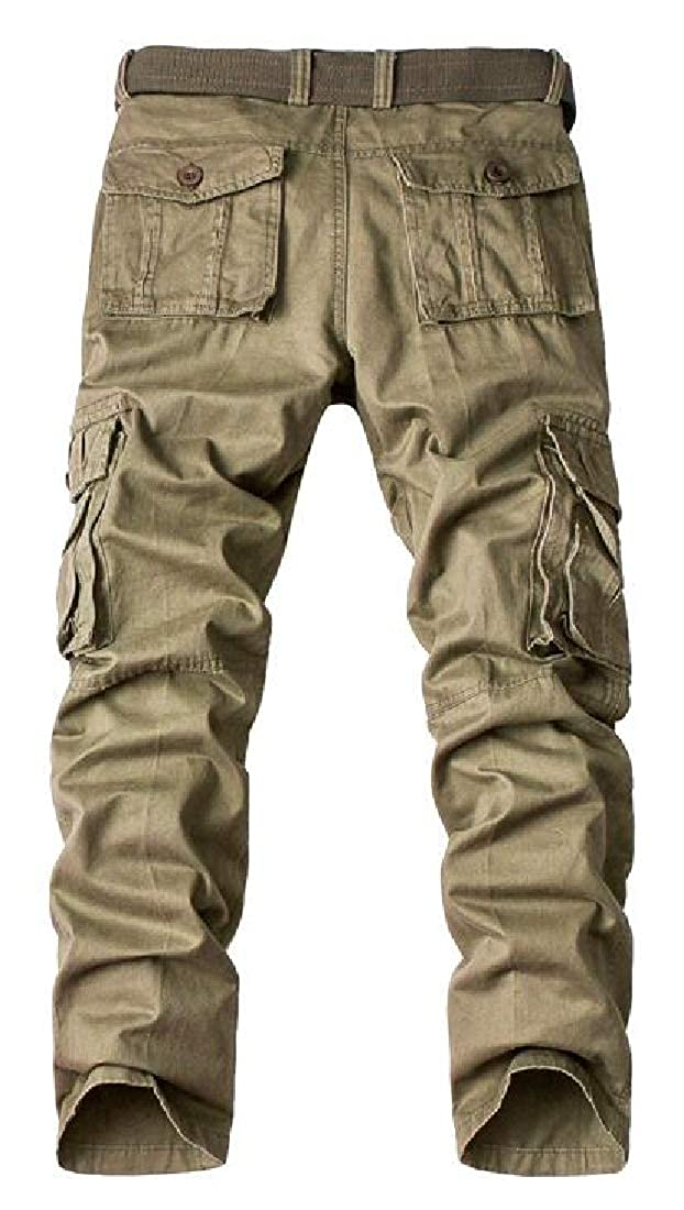 Domple Men Straight Leg Utility Cotton Solid Multi-Pockets with Pockets Cargo Pants