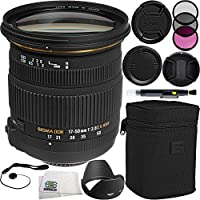 Sigma 17-50mm f/2.8 EX DC OS HSM Zoom Lens (for Canon DSLRs with APS-C Sensors) Bundle Includes Manufacturer Accessories + 3 PC Filter Kit + Lens Cap + Lens Pen + Cap Keeper + Microfiber Cleaning Cloth