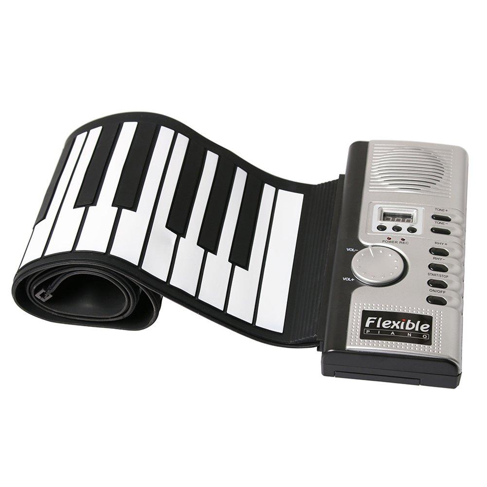 Foldable Piano Keyboard 61-Key ,Portable Roll up Electric Digital Music Keyboard Piano
