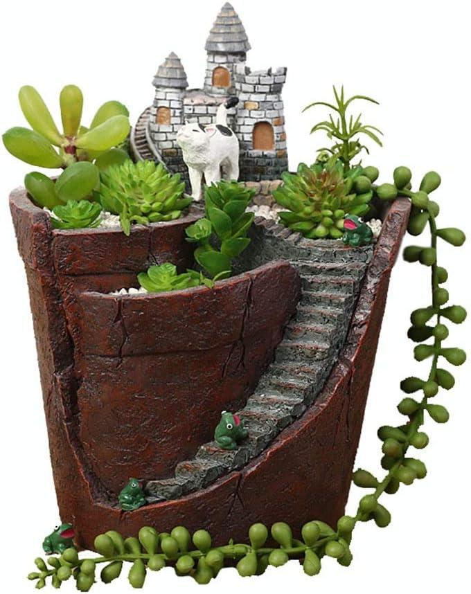 DorisAA-Garden Decoraciones al Aire Libre Casa de Hadas Casa de Hadas para los Jardines del Castillo de Hadas - Diseño de Interiores al Aire Libre para el jardín (Color : Pots, tamaño :