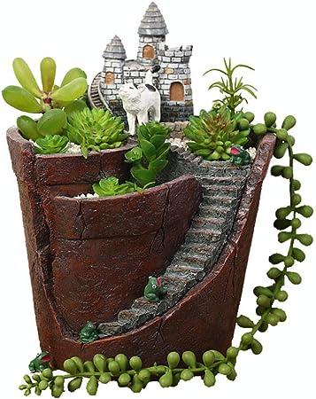 Sunferkyh Jardín de esculturas Casa de Hadas Casa de Hadas para los Jardines del Castillo de Hadas - Diseño de Interiores al Aire Libre (Color : Pots, tamaño : 20.5 * 14cm): Amazon.es: Hogar