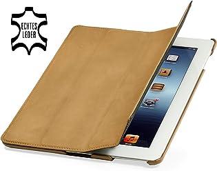StilGut Couverture, custodia in vera pelle per il Apple iPad 3 & iPad 4 con funzione di supporto e smart cover, cachi vintage