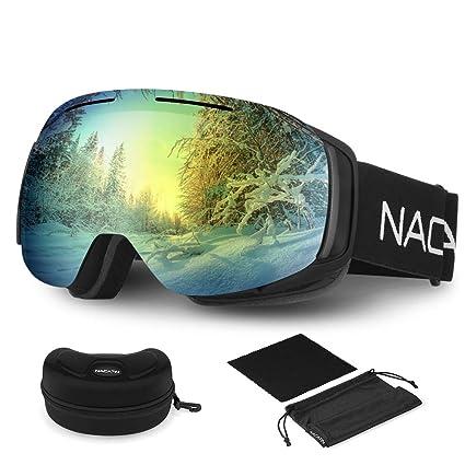 NACATIN Gafas de Esquí 4 en 1, 100% UV400 Protección Doble Lentes Esféricas, Antivahos, Respirables Anti-Viento con Diseño de OTG Gafas de Snowboard ...