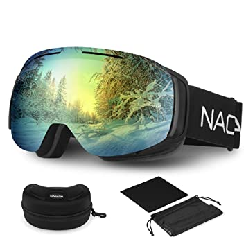 7b8445d3d9dd NACATIN Ski Snowboard Goggles (Gold)  Amazon.co.uk  Sports   Outdoors