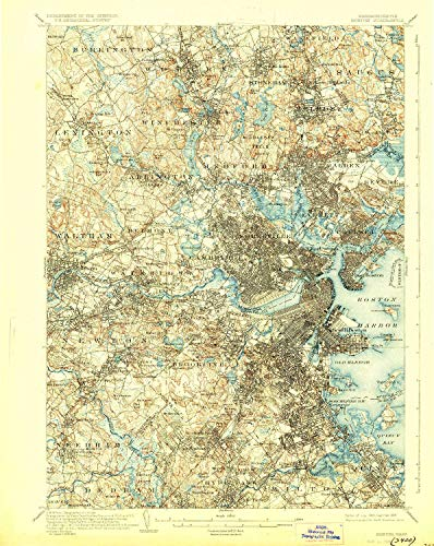YellowMaps Boston MA topo map, 1:62500 Scale, 15 X 15 Minute, Historical, 1903, Updated 1928, 19.8 x 15.8 in - Tyvek