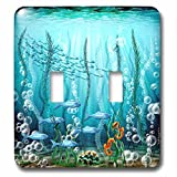 3dRose Dream Essence Designs-The Ocean - Ocean scene with schools of fish, seahorses, seaweed, bubbles and more - Light Switch Covers - double toggle switch (lsp_266089_2)