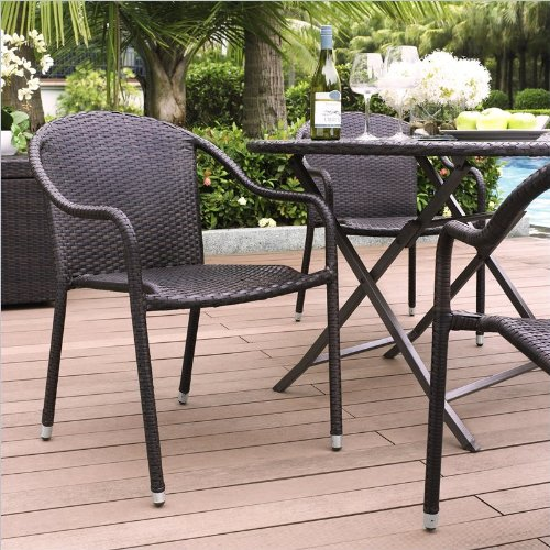 (Crosley Furniture CO7109-BR Palm Harbor Outdoor Wicker Stackable Chairs (Set of 4) - Brown)