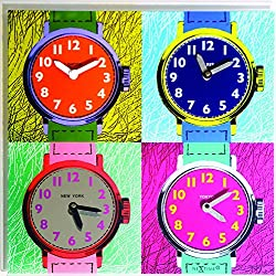 Unek Goods Nextime Time Zones Wall Clock, Square, Colorful Glass, 4 Time Zones, Battery Operated
