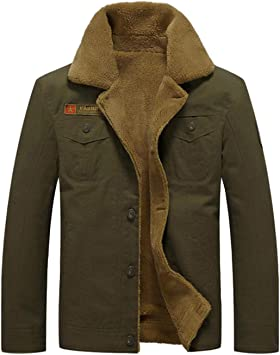 AFFC-男子トラック運転手デニムジャケット太い軍カウボーイパーカコート冬のアウトドアフリース裏地シャツジャケットトップスを温めます