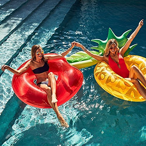Fly Inflatable Apple Swimming Ring Watermelon Pineapple Swimming Ring Cactus Pineapple Floating Bed Inflatable Floating Row by Fly (Image #4)