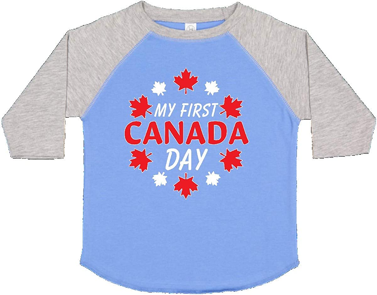 inktastic My First Canada Day with Red and White Maple Leaves Toddler T-Shirt