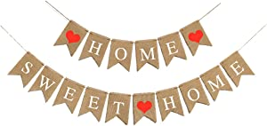 Heart-Warming Home Sweet Home Banner for Party 5.1X7.1 Inch Inside Outside Home Sweet Home Banner Burlap for Party Decorations