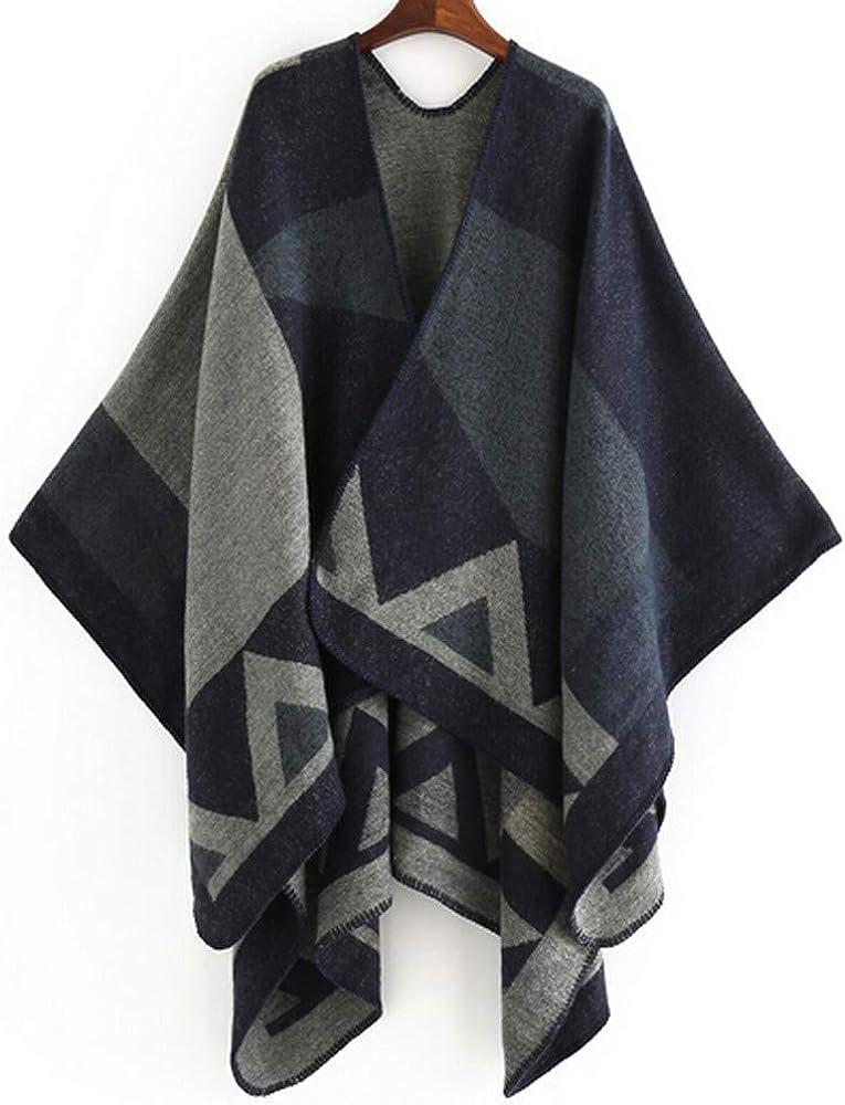 Sonnena Womens Color Block Shawl Wrap Plus Size Cardigan Poncho Cape Blanket Open Front Long Winter Sweater Coat