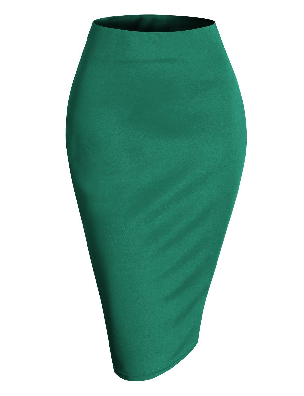 H2H Womens Basic Versatile Elastic Waist Band Office Pencil Skirt Jade XL (AWBMS0188)