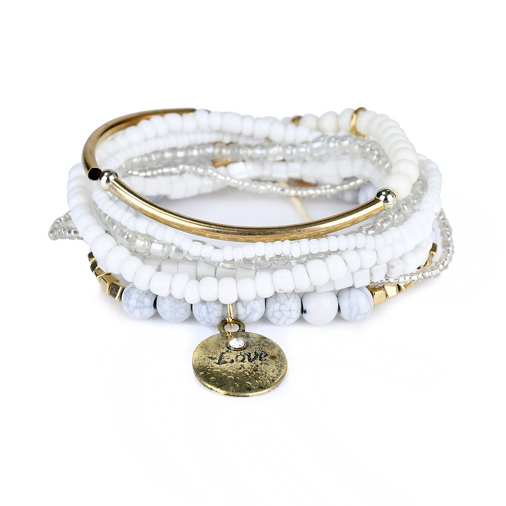 LUREME Bohemian Beads Coin Love Charms Multi Strand Textured Stackable Bracelet Set-White(bl003062-6)