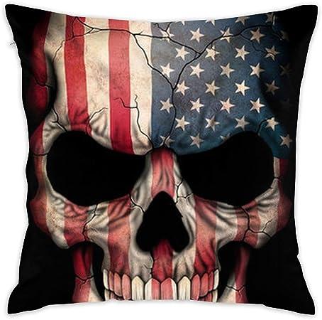 Elsaone Peluche Corto Suave Decorativo Cuadrado Bandera Americana cráneo Throw Pillow Cover Funda de cojín Funda de Almohada para sofá Dormitorio Coche 18 x 18 Pulgadas / 45 x 45 cm: Amazon.es: Hogar