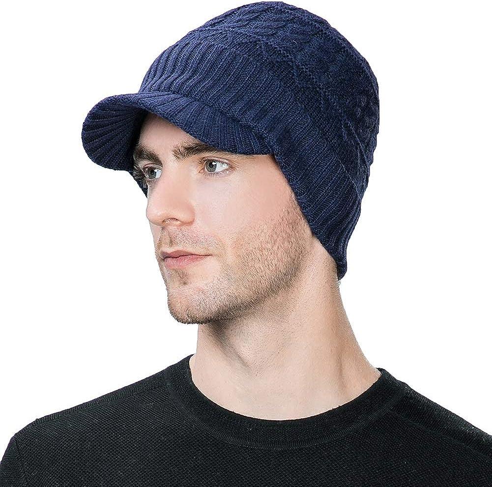 SIGGI Wool Knit Visor Beanie Winter Hat Cuff Jeep Cap Lined Soft Warm Unisex