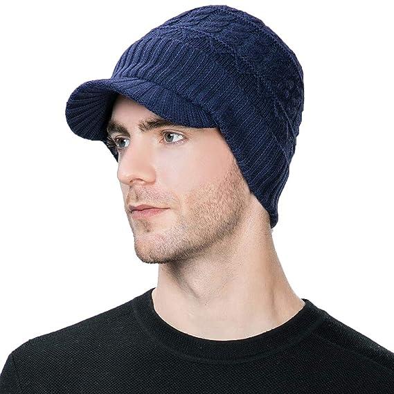 c3489fbce3d Siggi 37% Wool Knit Visor Beanie Mens Winter Hat Brim Cuff Newsboy Jeep Cap  Cold Weather Hat Fleece Lined Navy  Amazon.co.uk  Clothing