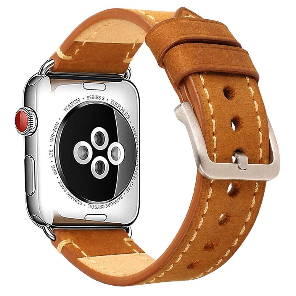 Compatible Apple Watch Band 42mm Mkeke Genuine Leather iWatch Bands Vintage Brown by Mkeke (Image #2)